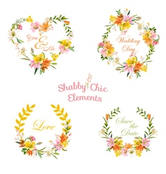 Vintage floral tags labels and banners for t-shirt vector