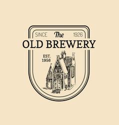 Vintage old brewery logo kraft beer label vector
