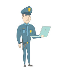 Young caucasian policeman using a laptop vector