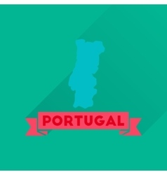 Flat icon with long shadow portugal map vector