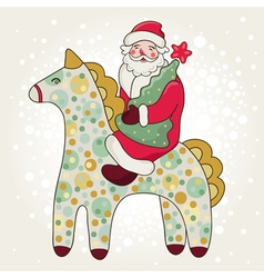Cute card with santa claus and horse vector