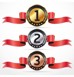 Set of Medal Numbers with ribbon vector image
