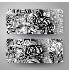Cartoon doodles artistic banners vector