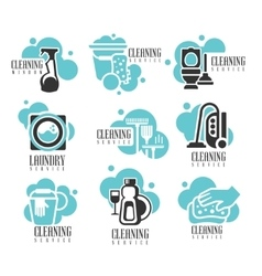 House and office cleaning service hire labels set vector