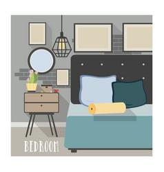 Modern bedroom interior in loft style vector