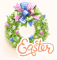 Easter festive grass wreath with bow on beige vector