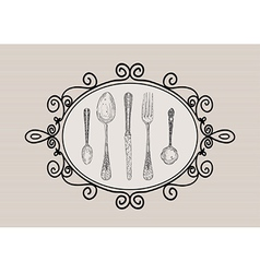 Retro cutlery elements sketch style set vector