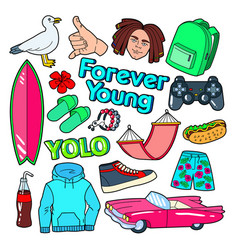 Teenager lifestyle doodle with surf vector