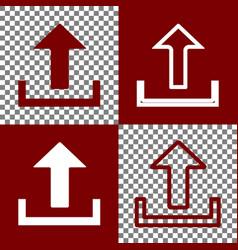 Upload sign bordo and white vector