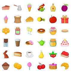 sweet food icons set cartoon style vector image