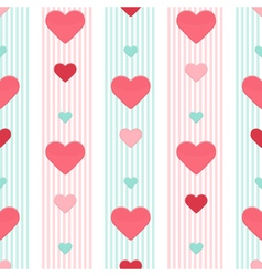 Seamless heart pink blue stripped pattern vector
