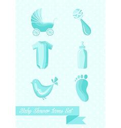 Baby shower boy icons set design vector
