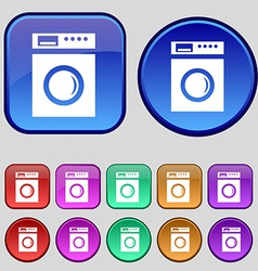Washing machine icon sign a set of twelve vintage vector