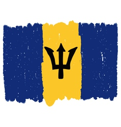 Flag of barbados handmade vector