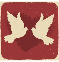 Two lovers doves vector