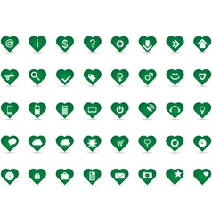 Green heart icons vector