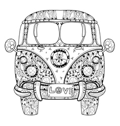 Hand drawn doodle outline retro bus travel vector