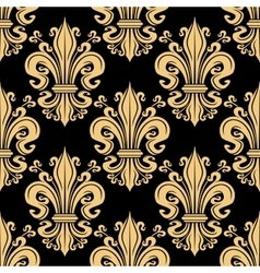 Golden seamless fleur-de-lis pattern over black vector