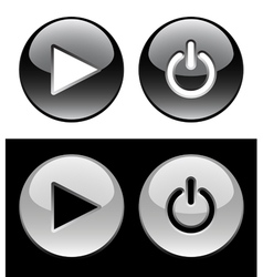 Black and white ring buttons vector image vector image