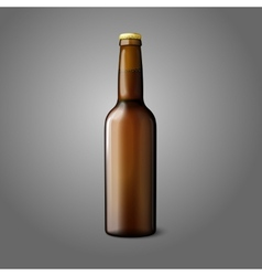 Blank brown realistic beer bottle isolated on grey vector image