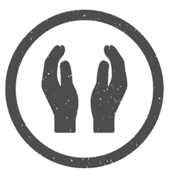 Care hands icon rubber stamp vector