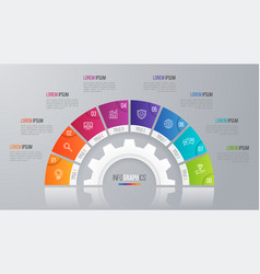 Circle chart template for infographics 8 vector