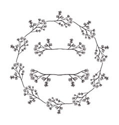 circular form branchs with flowers inside vector image