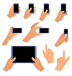 Collection of hands holding phone and tablet vector image vector image