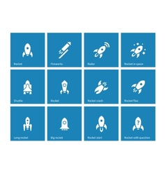 Flat rocket icons on blue background vector image vector image