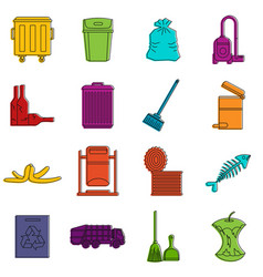 Garbage thing icons doodle set vector