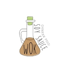 Glass bottle with soy sauce chinese food and wok vector