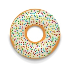 Glazed donut with candies icon cartoon style vector