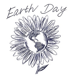 Hand sketch flower and planet earth vector