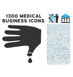 hand wound icon with 1300 medical business icons vector image