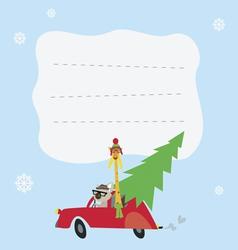 Holiday card with koala and giraffe vector image vector image