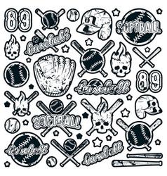 Icon and badge set of baseball and softball vector