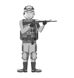 Infantryman with weapons icon vector image vector image