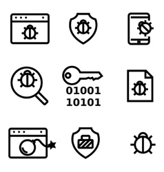 Line computer virus icon set vector
