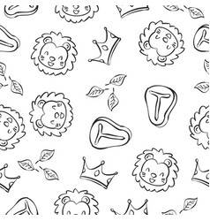 Lion doodle pattern background hand draw vector