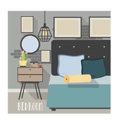Modern bedroom interior in loft style vector