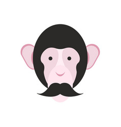 Monkey with mustache chimpanzee head primacy of vector