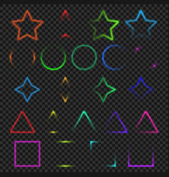 Neon light glowing colorful objects collection vector