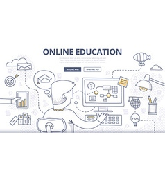 Online education doodle concept vector
