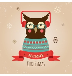 Owl Merry Christmas Card vector image vector image
