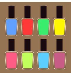 Pink blue violet green yellow nail polish varnish vector