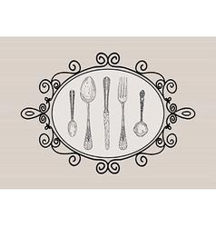 Retro cutlery elements sketch style set vector image