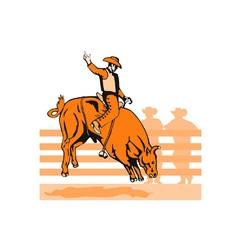 Rodeo cowboy bull riding retro vector