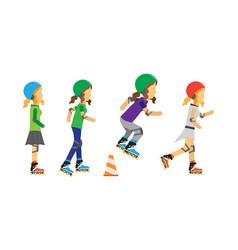 roller skater girls in flat design vector image vector image