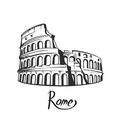 rome colosseum black white vector image