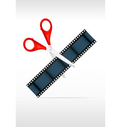 Scissors and film strip video editing vector